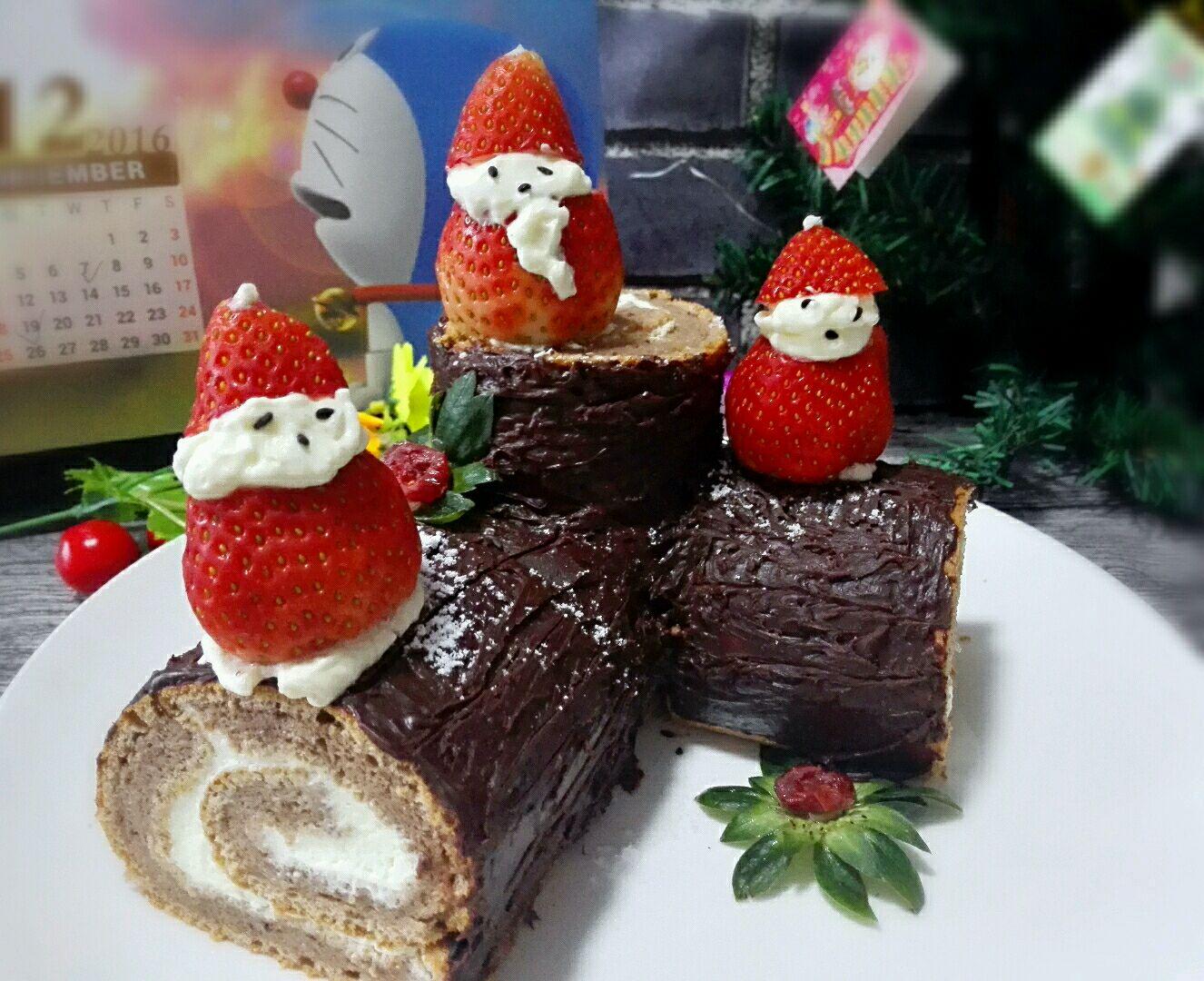 圣诞节树桩蛋糕#圣诞烘趴 为爱起烘
