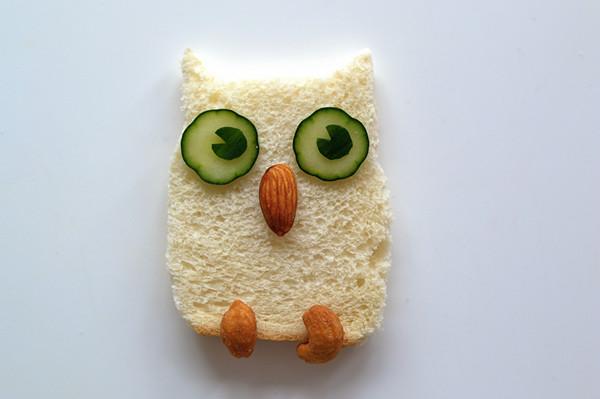 生动的动物造型早餐,夜晚的猫头鹰