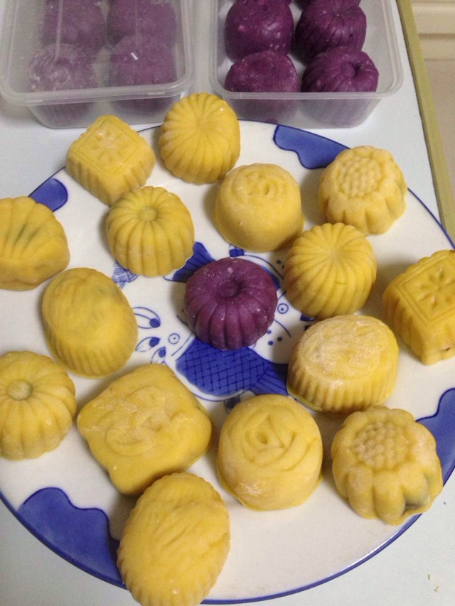 紫薯南瓜冰皮月饼的做法图解4