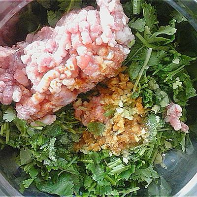 姜切末,香菜切小段,与猪猪肉放入碗中,加入盐,一品鲜(1),食用油搅拌均十二斤肉馅有多少钱图片