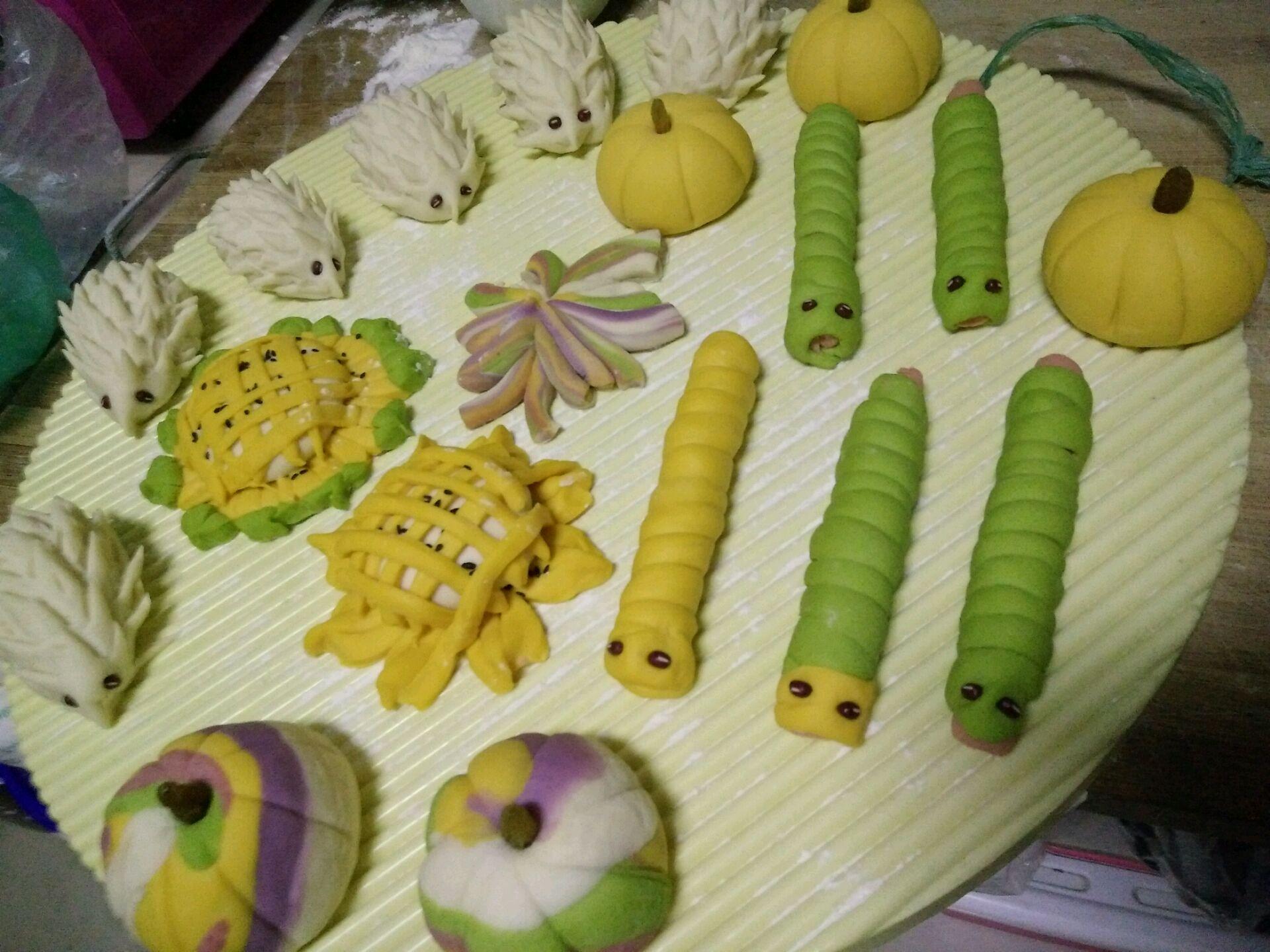 南瓜紫薯小鸡五彩花样面食的做法图解10