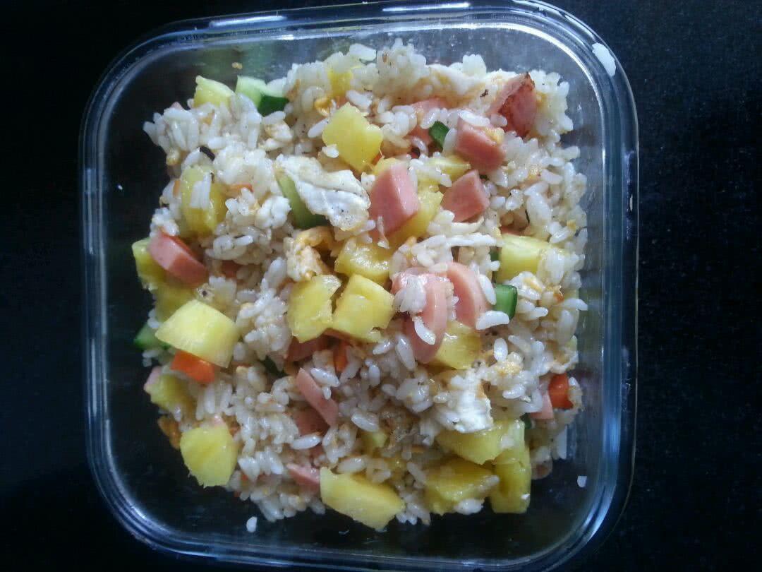 菠萝蛋炒饭的做法图解4