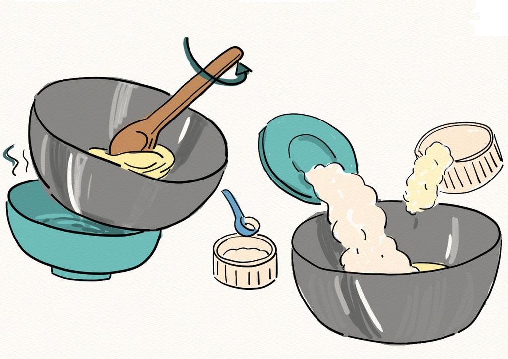 首先隔热水将黄油软化,加入面粉,奶粉,糖粉,慢慢搅拌均匀.图片