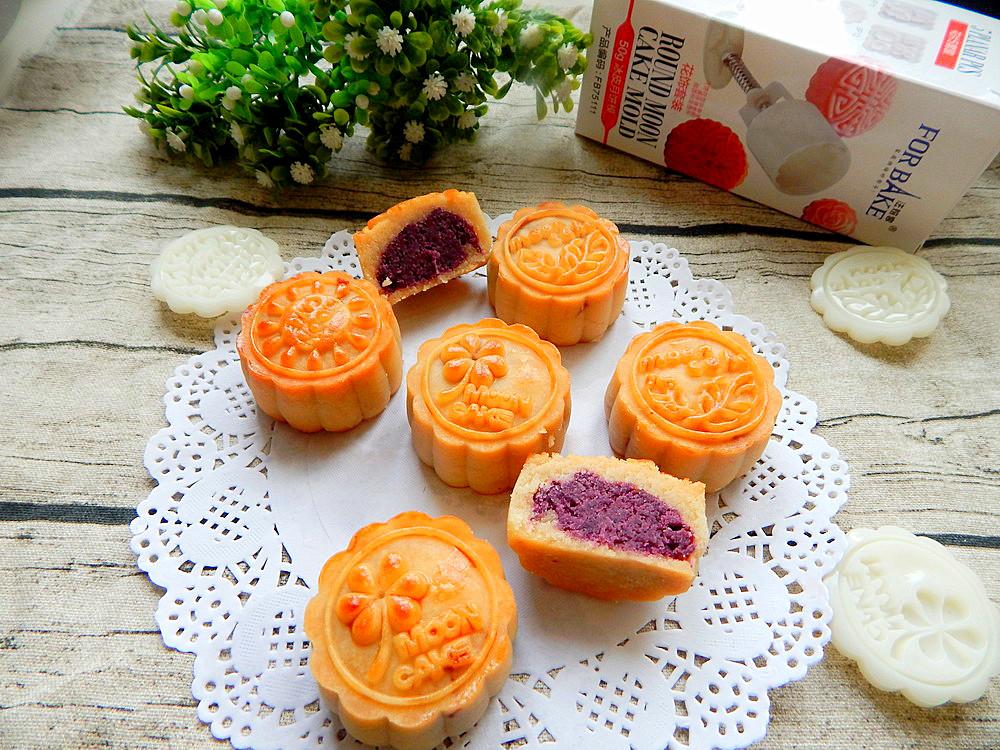 250克 紫薯馅300克 辅料   视水2克 油50克 紫薯月饼的做法步骤 小