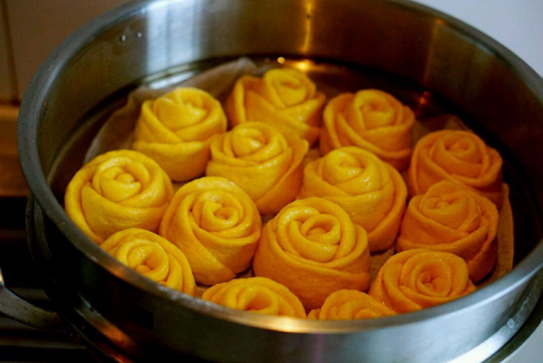 玫瑰馒头_南瓜玫瑰花馒头