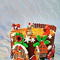 卡通树桩屋蛋糕#豆果5周年#的做法图解13