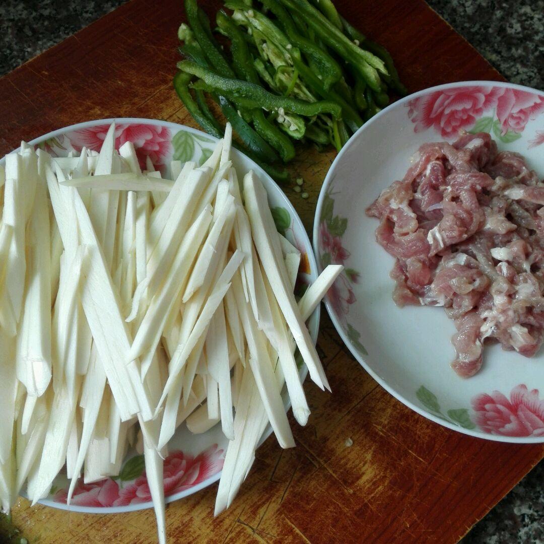 茭白青椒肉丝的做法图解2
