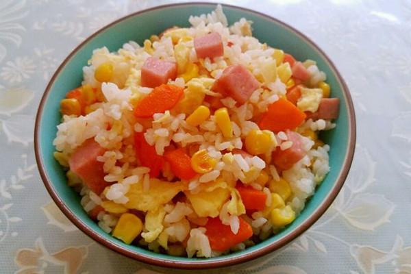 【图】玉米胡萝卜火腿鸡蛋炒饭|玉米胡萝卜火