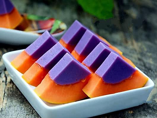 紫薯木瓜布丁的做法