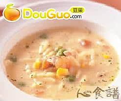 虾仁通心面浓汤的做法