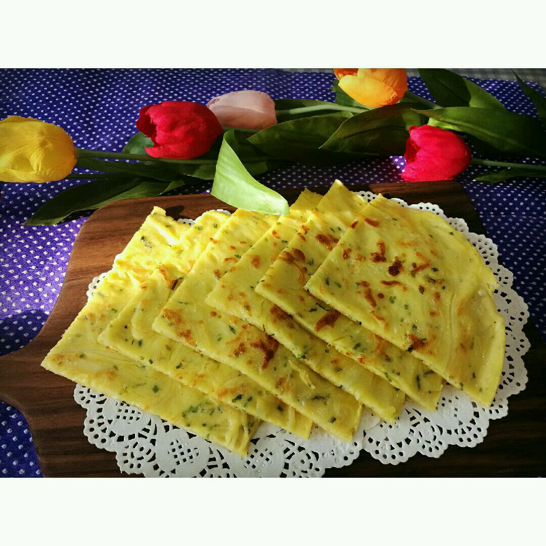 土豆丝葱香鸡蛋饼