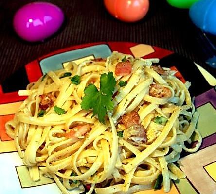 低盐少油的意大利培根奶酪炒面的做法