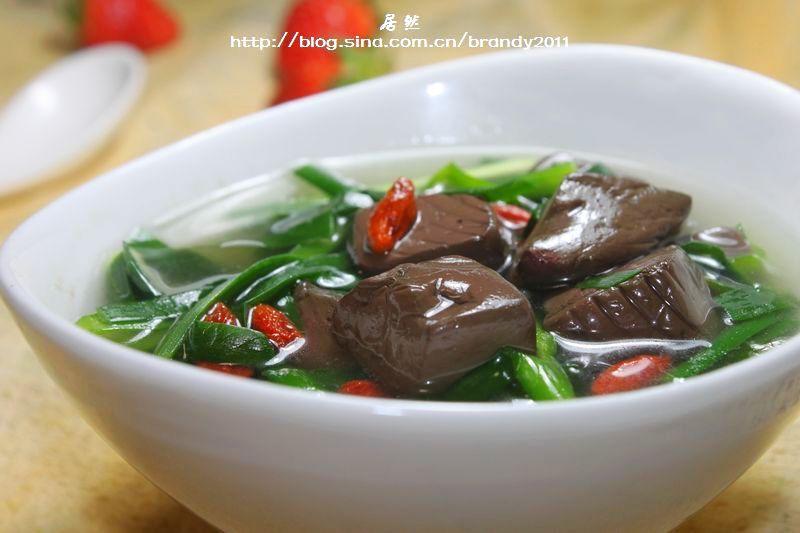 韭菜猪红汤的做法_【图解】韭菜猪红汤怎么做如何做