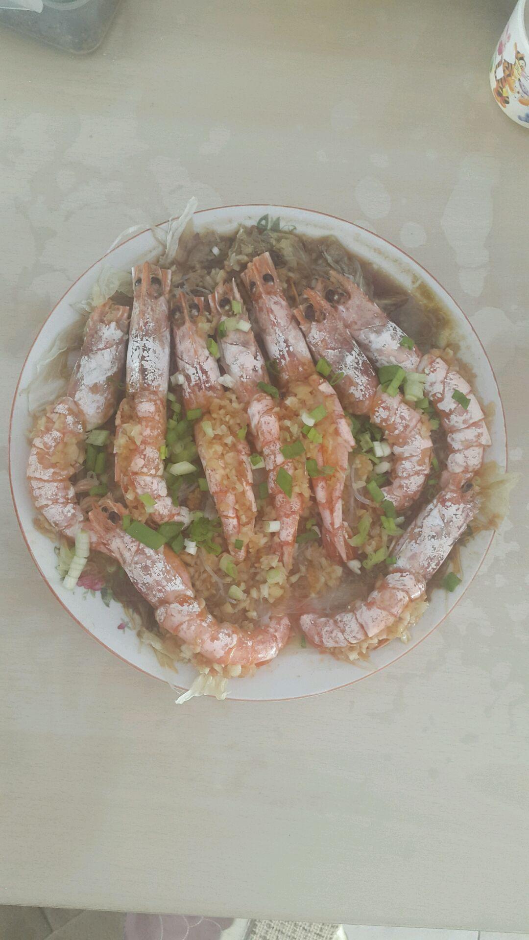 蒜蓉粉丝蒸阿根廷红虾的做法