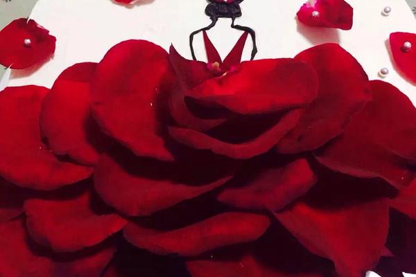 玫瑰花瓣女孩蛋糕的做法_【图解】玫瑰花瓣女孩蛋糕做