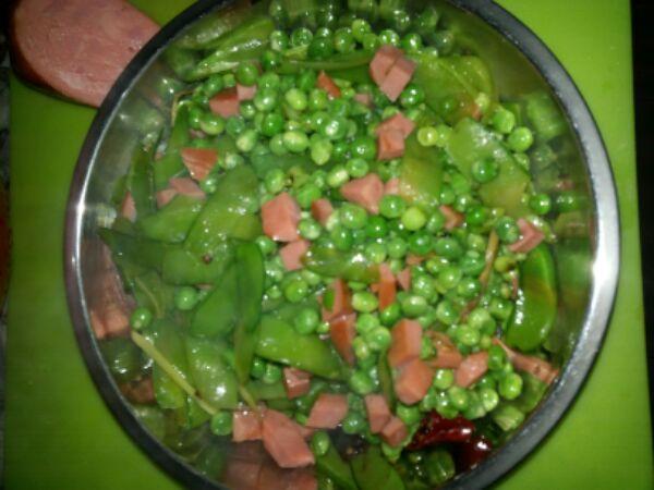 豌豆米炒火腿的做法_【图解】豌豆米炒火腿怎么做如何