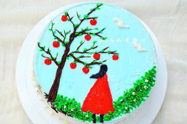 手绘背影蛋糕图