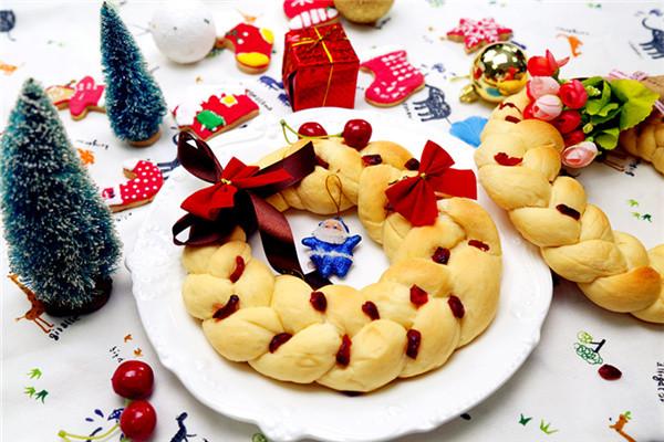 圣诞特辑-圣诞花环面包