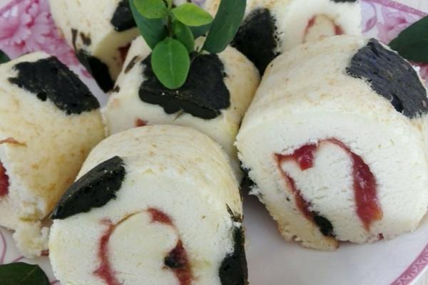 绿色花纹卷蛋糕的做法