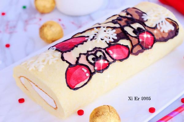 圣诞彩绘蛋糕卷的做法-彩绘蛋糕卷 自家做的 接到任务