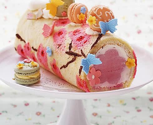 桃花手绘蛋糕卷的做法_【图解】桃花手绘蛋糕卷怎么做