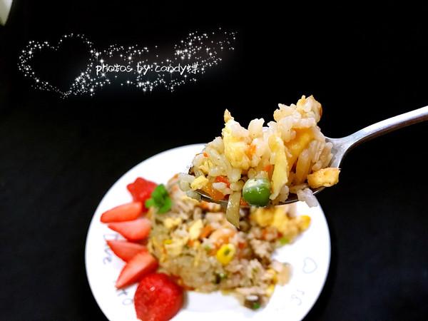 五彩时蔬虾仁牛排蛋炒蛋