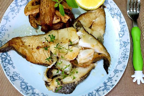 黄油煎比目鱼佐松茸的做法