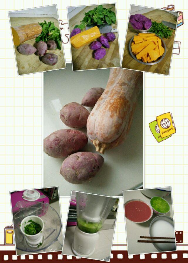 南瓜紫薯小鸡五彩花样面食的做法步骤