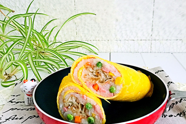 五彩米饭蛋皮卷#福临门创意米厨