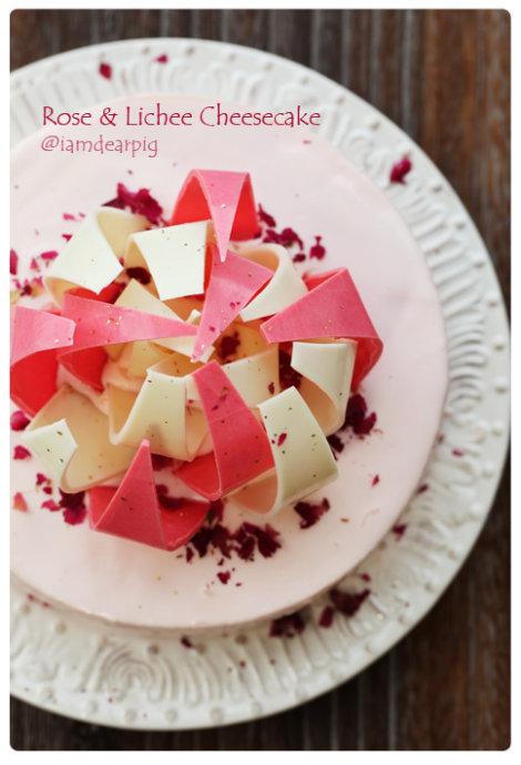 结构:香橙全蛋海绵蛋糕底   荔枝冻芝士(中间白色部分)  玫瑰冻芝士