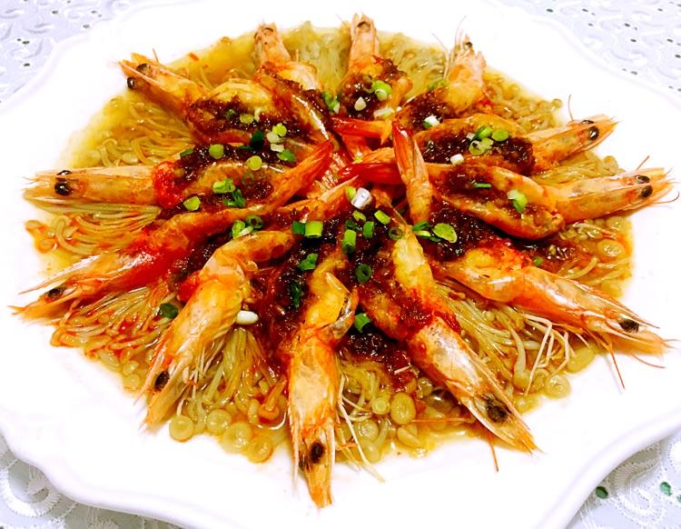 蒜蓉海虾蒸金针菇的做法图解15