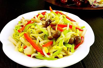 蟹味菇炒芽菜#我要上首页清爽家常菜#