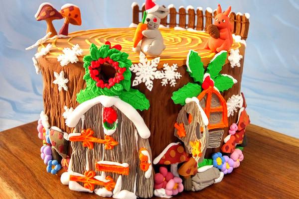 卡通树桩屋蛋糕#豆果5周年#的做法