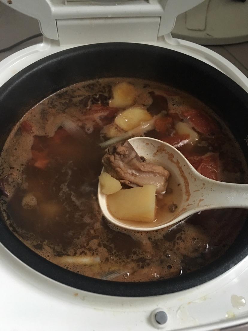 大葱1段 番茄味的土豆炖排骨,电饭煲炖汤~手残党福利的做法步骤