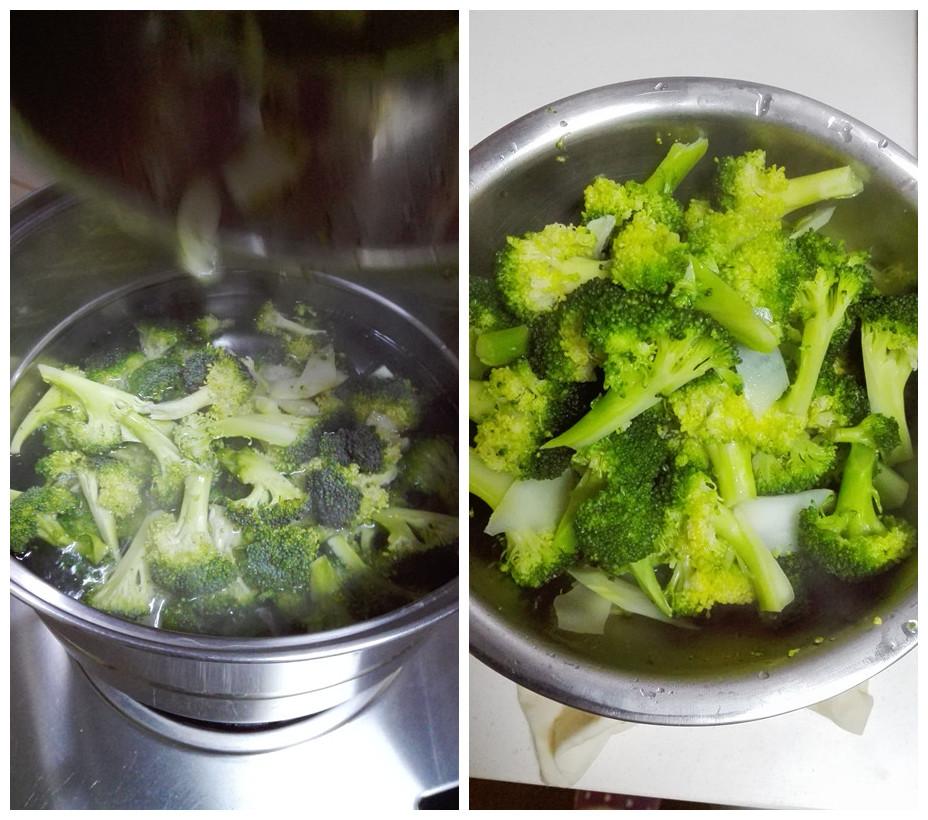 浸泡后的西兰花洗净,入开水锅中焯水,水里放少许的盐和油,烫至西兰花