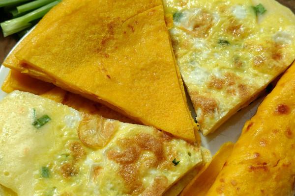南瓜牛奶鸡蛋饼vs葱香鸡蛋摊饼的做法_【图解】南瓜饼