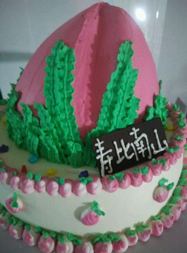 蛋糕/第一次做寿桃蛋糕,缺点太多了